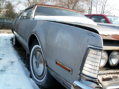 Cash For Junk Cars | Old Rusty Chevy With Snow On Top With Hood Open