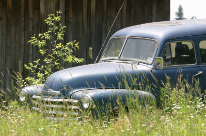 Old Junk Car In Field Ready To Be Sold For Cash